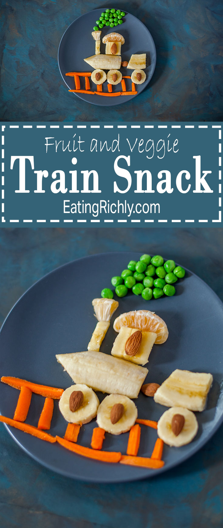 This fruit & veggie train snack is fast and easy to make, & a great way to get produce into any kid who loves trains. You've got to see the reaction video on EatingRichly.com!