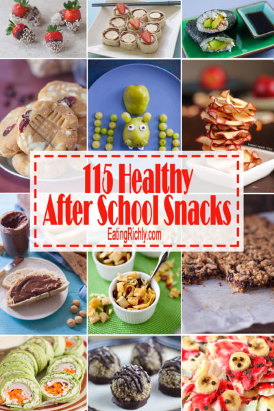 Healthy after school snacks are a great way to avoid the wrath and destruction of a hungry kiddo. Here's 115 snacks we think your kid will love! See them all at EatingRichly.com.