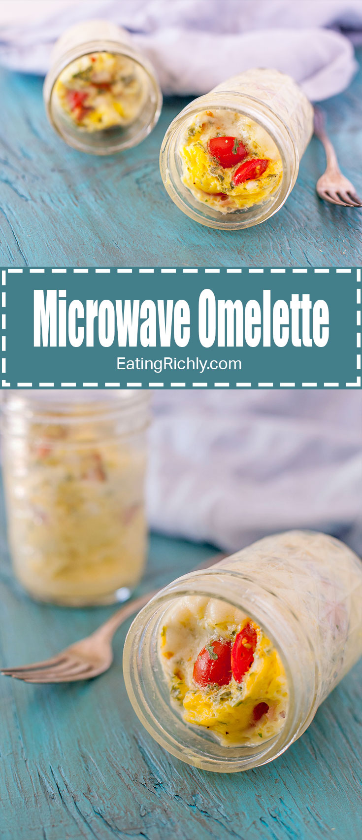 This microwave omelette to go is the perfect quick and easy hot breakfast in a jar. It's packed with protein, and both gluten free and dairy free! From EatingRichly.com