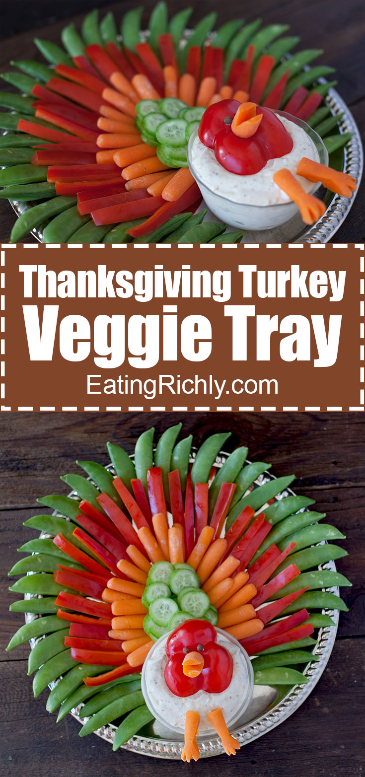 This Thanksgiving turkey veggie tray is an easy way to eat vegetables during the holidays! You can use hummus to make this an easy dairy free, vegan appetizer. From EatingRichly.com