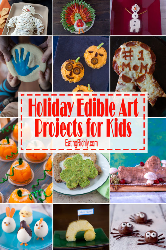 Edible art projects are a great way to get kids excited about cooking. Here's a round up of fun holiday edible art projects to make throughout the year. From EatingRichly.com