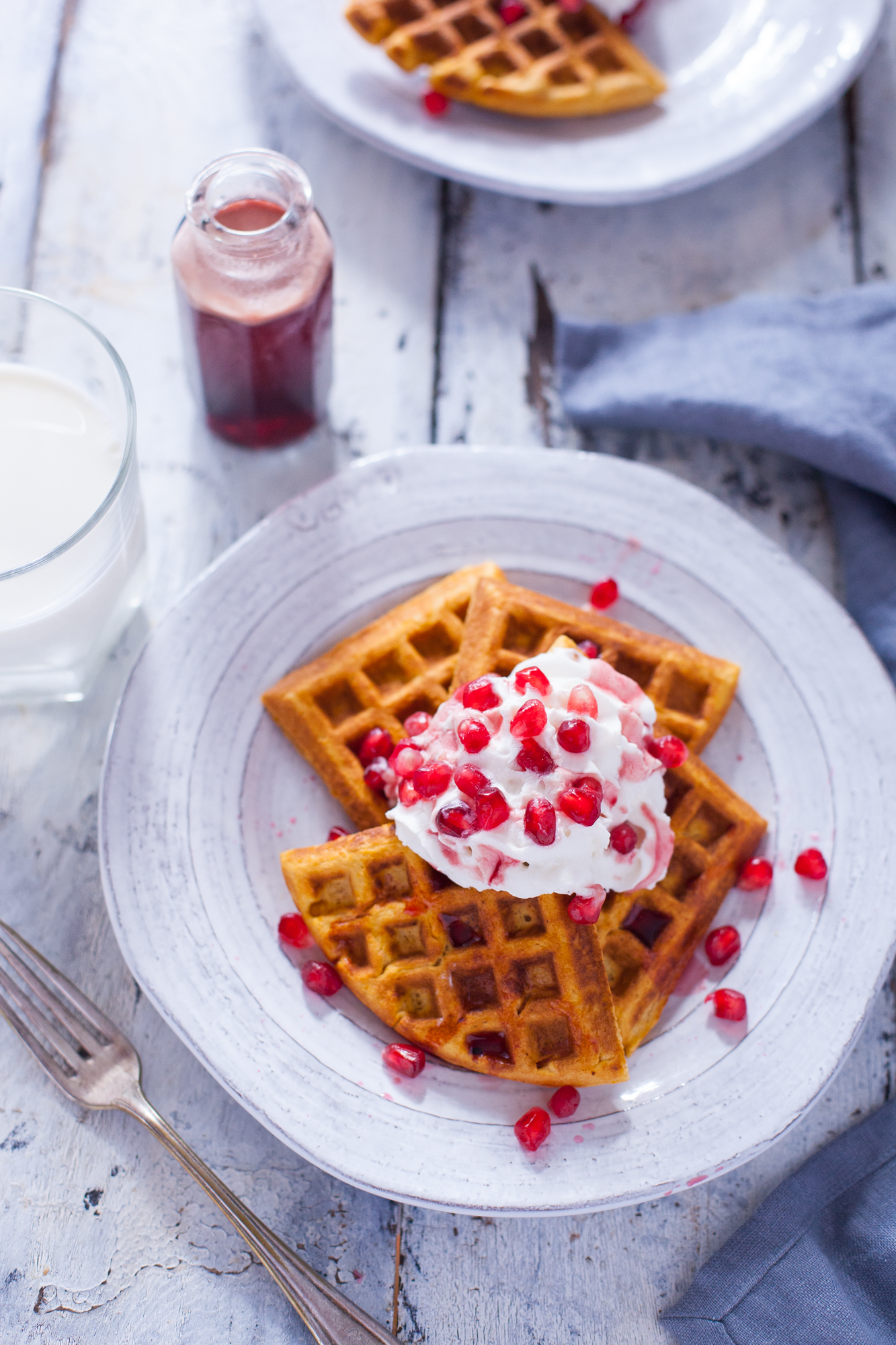 Sweet Potato Waffles Recipe with Pomegranate Syrup