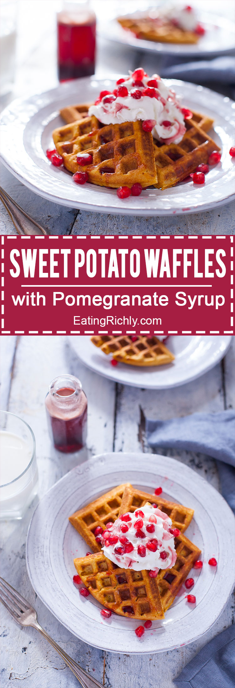 This sweet potato waffles recipe makes perfectly crisp, healthy waffles, and tops them off with an amazing sweet and tangy pomegranate syrup. From EatingRichly.com
