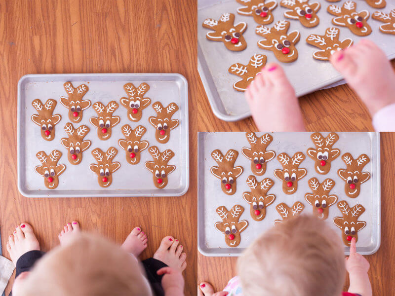These reindeer gingerbread cookies are super simple to make with a gingerbread man cookie cutter. They're irresistibly cute! From EatingRichly.com