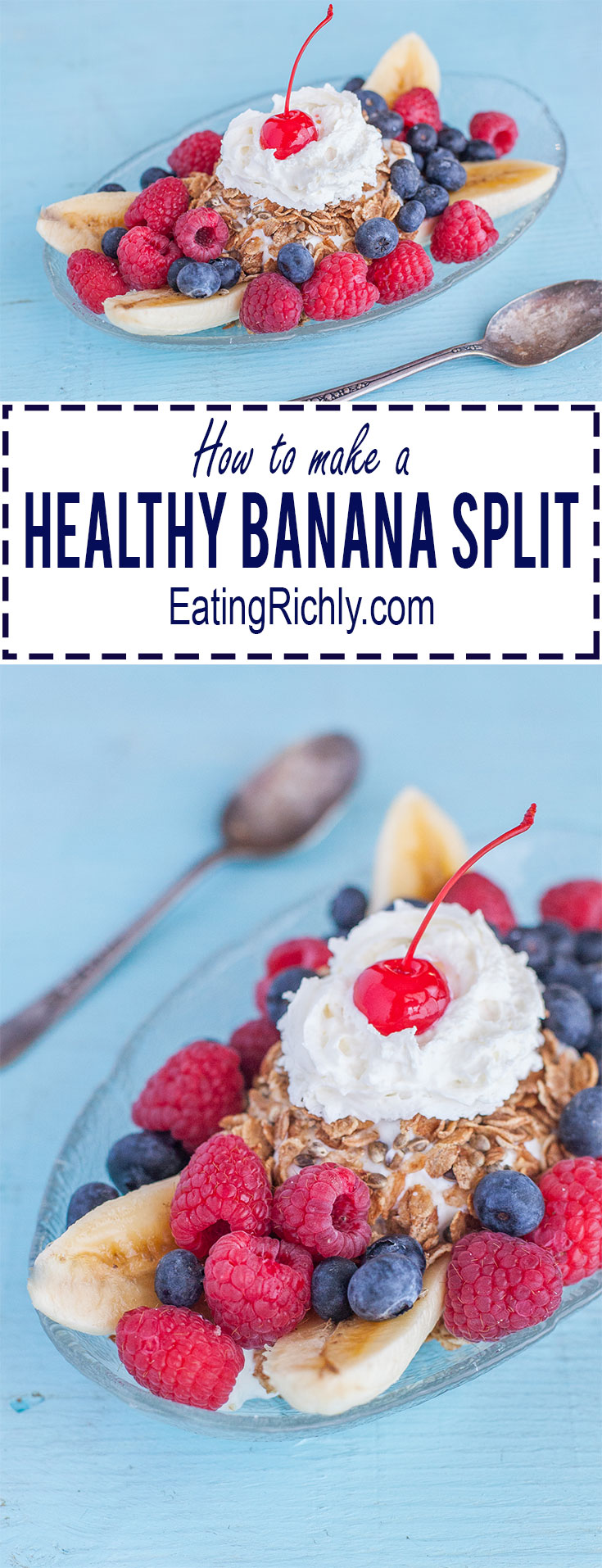 This delicious but Healthy Banana Split Recipe is magic for your tastebuds and waistline, and perfect for making with your kids.  From EatingRichly.com