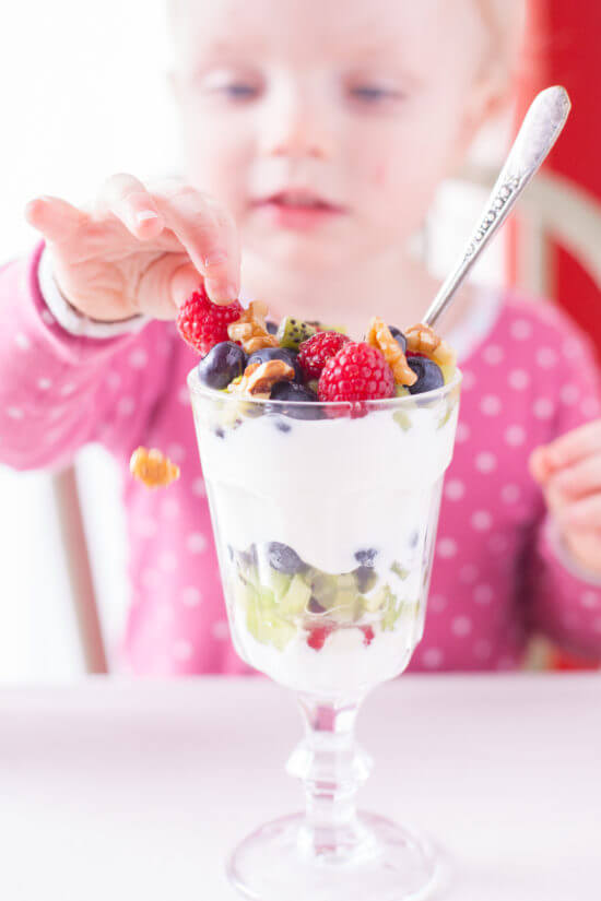 This is the perfect fruit and yogurt parfait for kids to make themselves. A delightfully healthy dessert, breakfast, or after school snack. From EatingRichly.com