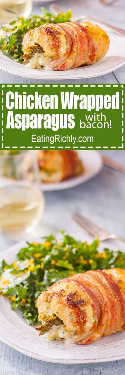 A few simple ingredients, in a beautiful presentation, make bacon and chicken wrapped asparagus perfect for a holiday dinner, or everyday meal. From EatingRichly.com