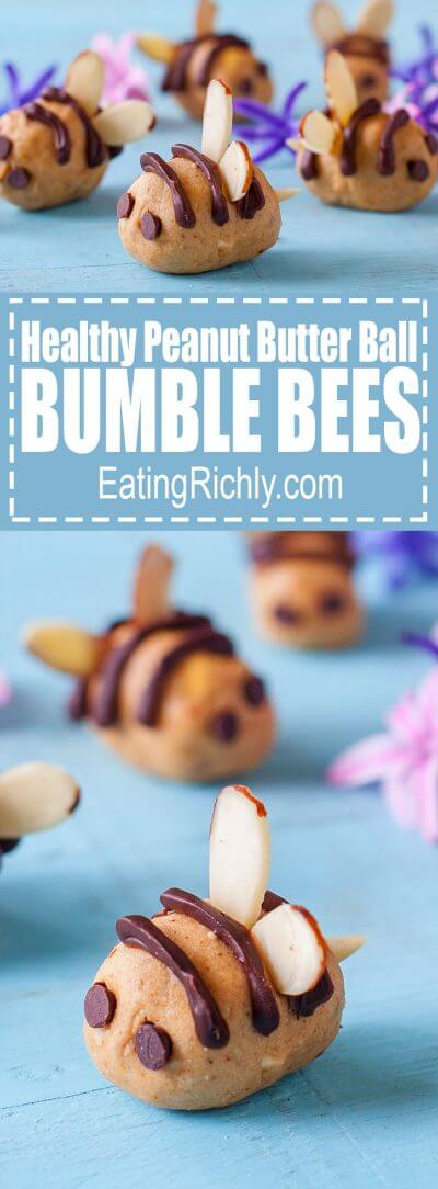 Kids will love turning healthy peanut butter balls into adorable chocolate drizzled bumble bees almost as much as they'll love eating them! From EatingRichly.com