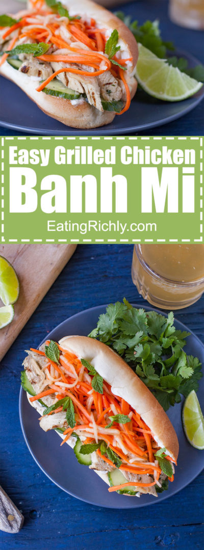 This Vietnamese sandwich recipe is an authentic grilled chicken banh mi packed with exciting flavors, colors and textures. And it's SO easy to make! From EatingRichly.com