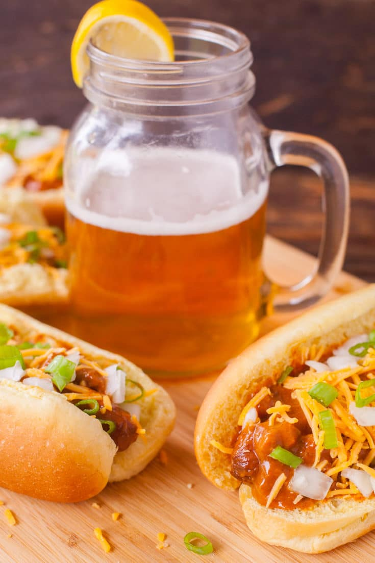 Slow Cooker Hot Dogs with Chili and Cheese