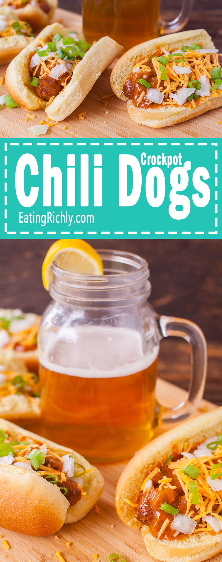 These slow cooker hot dogs are swimming in a chili cheese hot tub of deliciousness, and only need THREE ingredients. Which means you can have a cold beer and play with the kids instead of standing over a hot stove! From EatingRichly.com