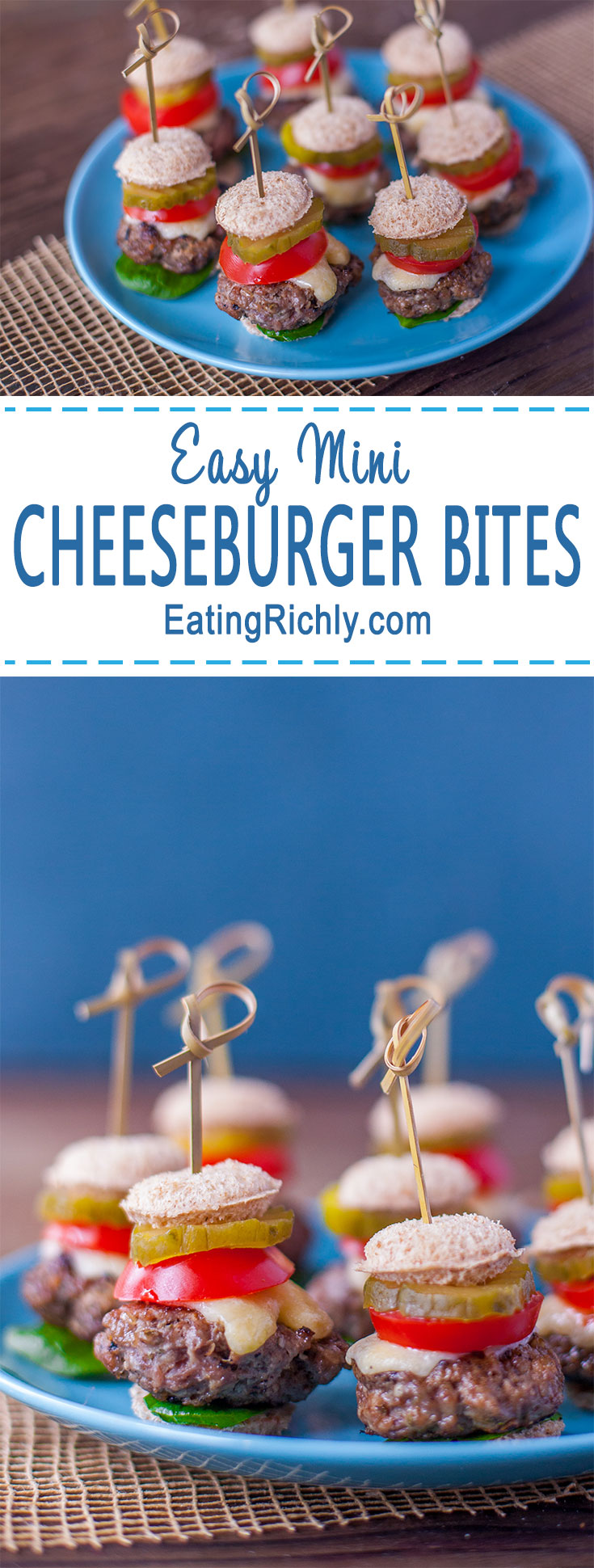 Cheeseburger bites turn your favorite burger into an adorable appetizer that's perfect for parties.  Easily dairy/gluten free. Bet you can't eat just one! From EatingRichly.com