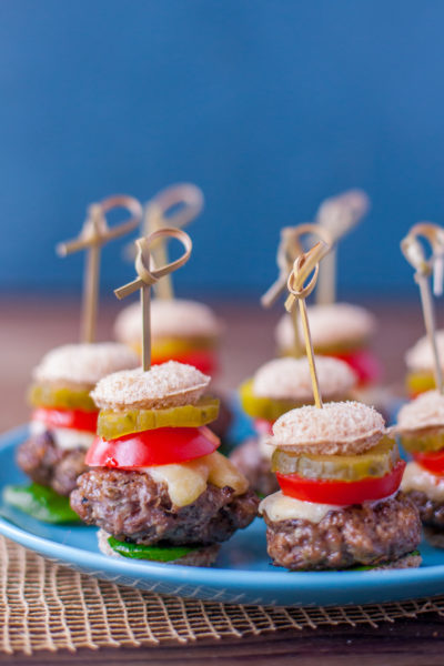 Cheeseburger bites turn your favorite burger into an adorable appetizer or snack that's perfect for parties. Feel free to use gluten free buns to make these gluten free, and skip the cheese to make them dairy free. Bet you can't eat just one! From EatingRichly.com