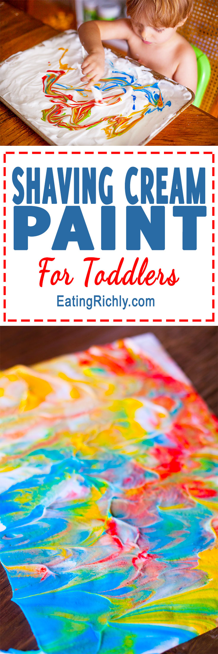 Shaving cream paint is a fun way for your toddler to create beautiful marbled works of art, and get some sensory play at the same time. From EatingRichly.com