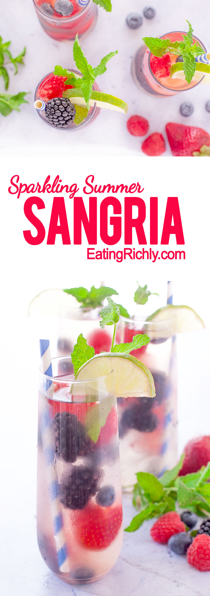 This refreshing summer sangria berry punch made with Riesling, sparkling wine, summer berries, fresh mint, triple sec, & lime. Perfect for backyard parties! From EatingRichly.com