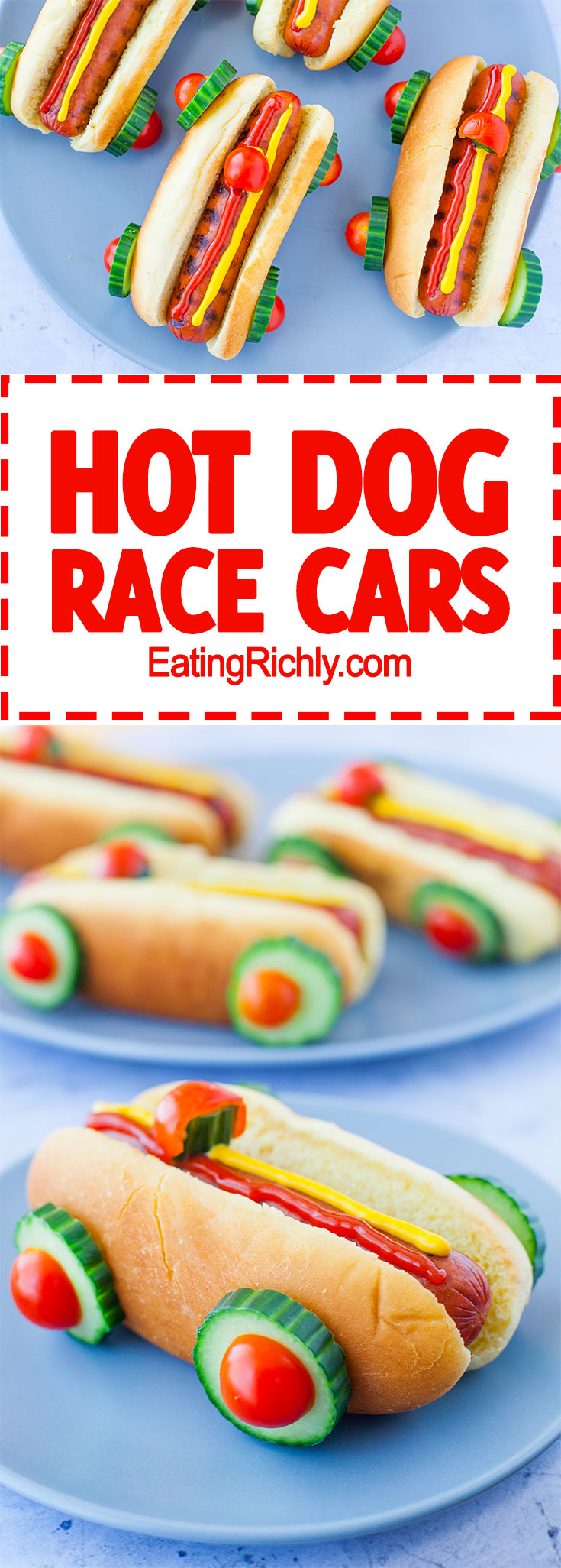 race car hot dogs for a cars party  eating richly