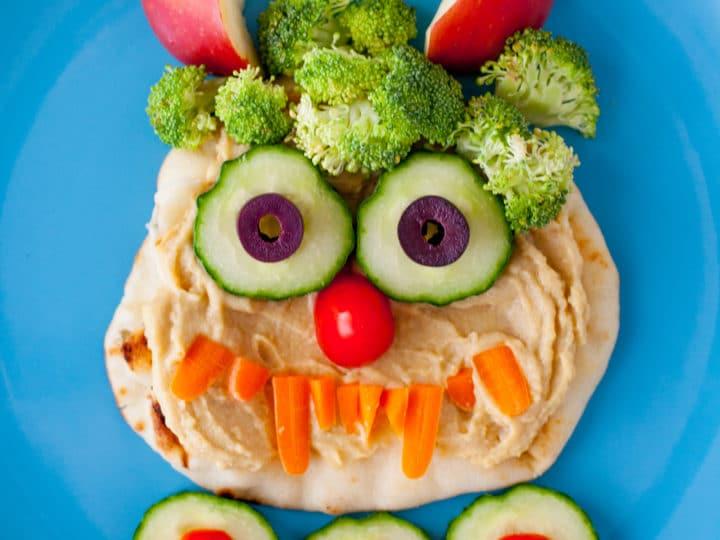 Hummus Monster Halloween Lunch For Kids Eating Richly