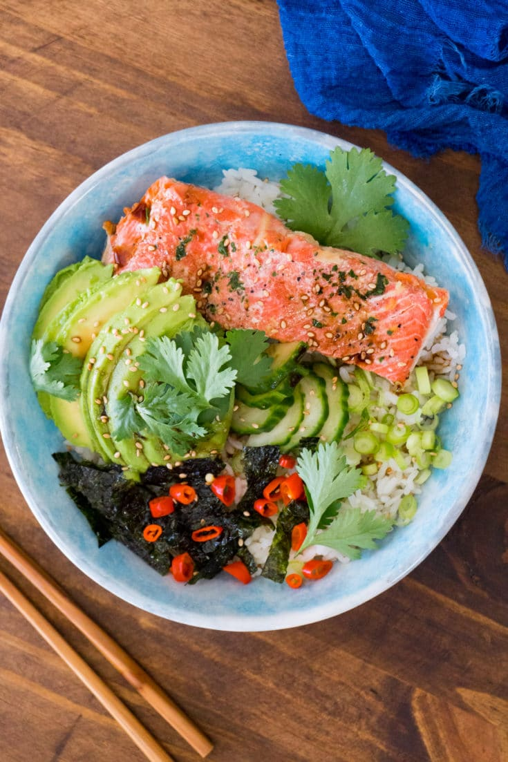 Healthy Sushi Bowl with Leftover Salmon