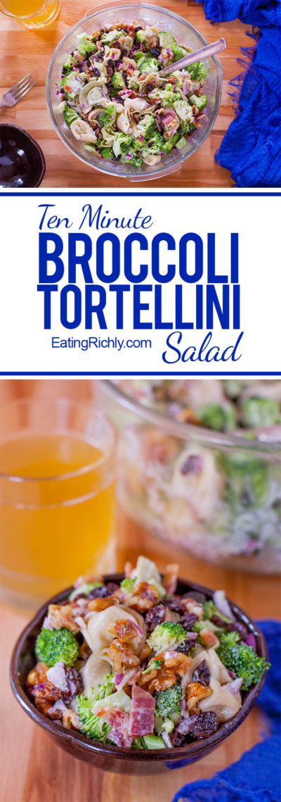 This creamy broccoli tortellini salad is perfect for potlucks and parties, but also makes a complete meal for family dinner! From EatingRichly.com