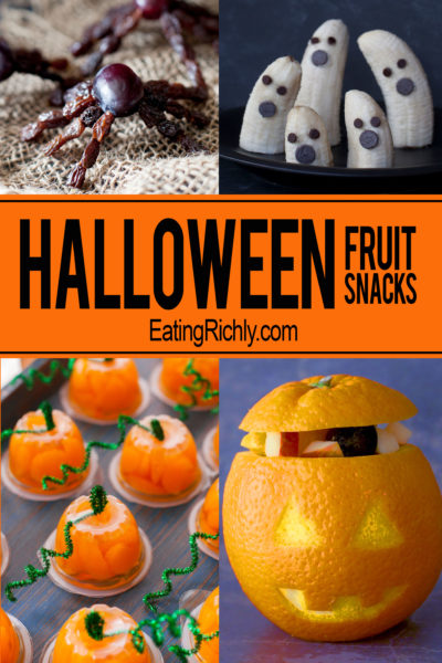 These cute Halloween fruit snacks are healthy holiday treats that are easy enough for your kid to make. From EatingRichly.com
