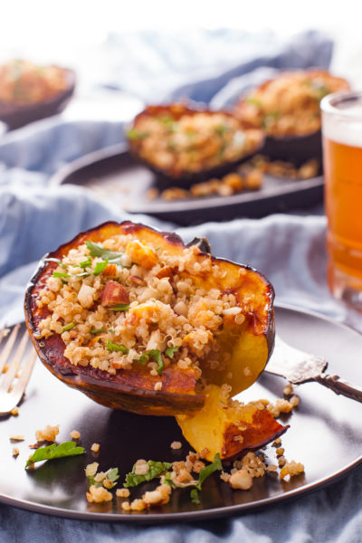 Quinoa Stuffed Squash with Almonds and Apricots