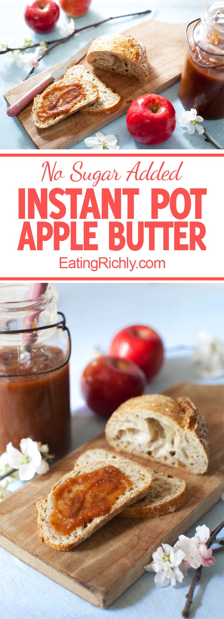 This healthy apple butter has no added sugar, and is made in the Instant Pot! From EatingRichly.com