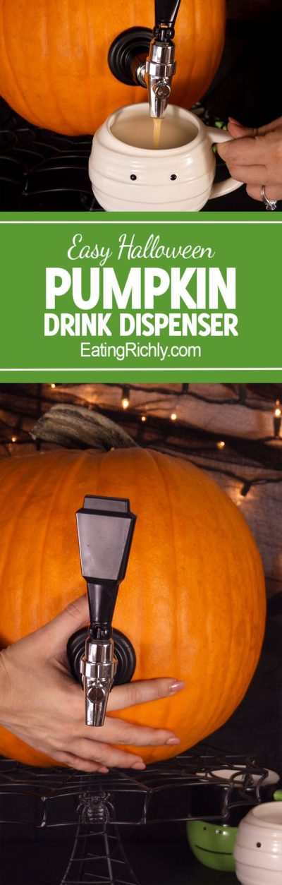 It's SO easy to turn a pumpkin into a keg! Fill it with apple cider, or our bourbon cider pumpkin punch for an attention grabbing drink dispenser. From EatingRichly.com