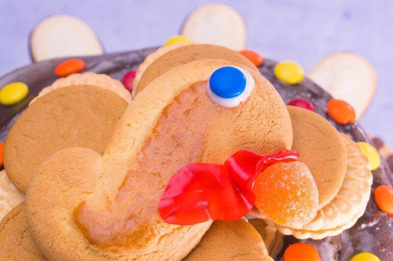 This easy turkey cake is made from a store bought chocolate bundt cake and packaged cookies and candy, so it's no-bake and fast to make! From EatingRichly.com