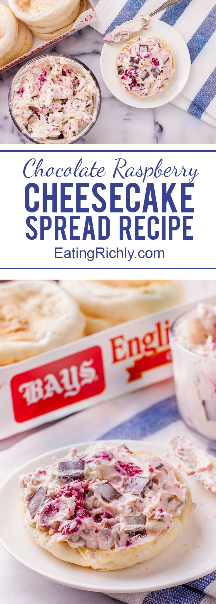 This chocolate raspberry cheesecake spread is an easy sweet snack; perfect on English muffins with some hot cocoa to finish off an afternoon of snow play. From EatingRichly.com
