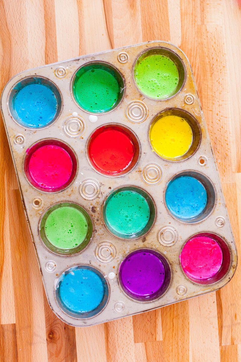 Coloful Bath Paint in Muffin Tin