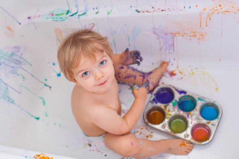 Toddler Paint Bath Sensory Art Project - Eating Richly