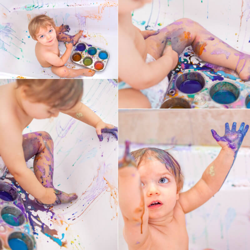 Toddler Paint Bath Mess