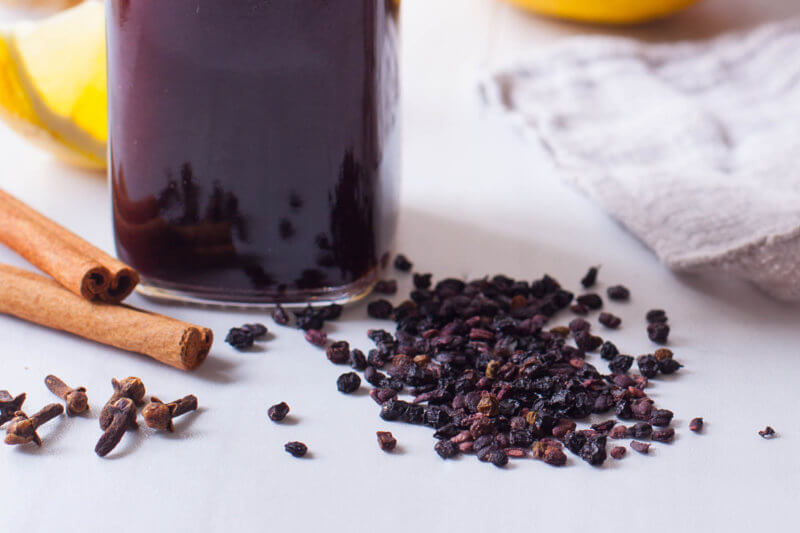Dried elderberries and ingredients for elderberry syrup
