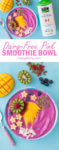 Pink Dairy Free Smoothie Bowl with So Delicious Almond Milk Carton
