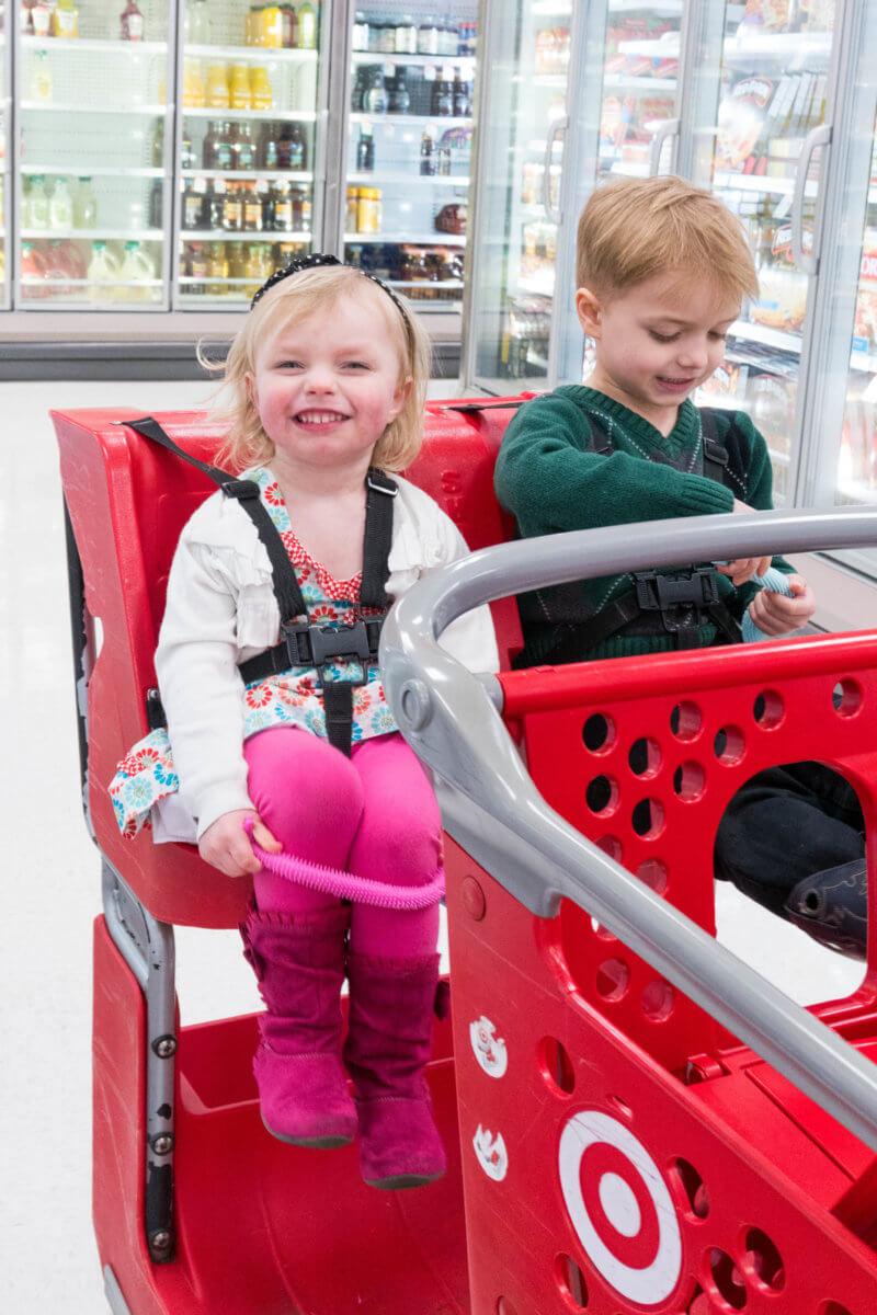 Kids in Target Shopping Cart