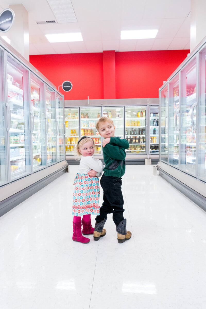 Kids in Target Cooler Section