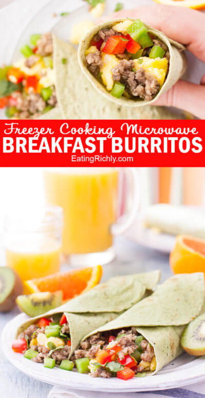Breakfast Burrito Recipe blends mushrooms with the sausage to pack in the veggies! #lowcarb #protein #breakfast #breakfastrecipes #recipe #freezer #freezercooking #freezermeals #burritos #blenditarian #ad