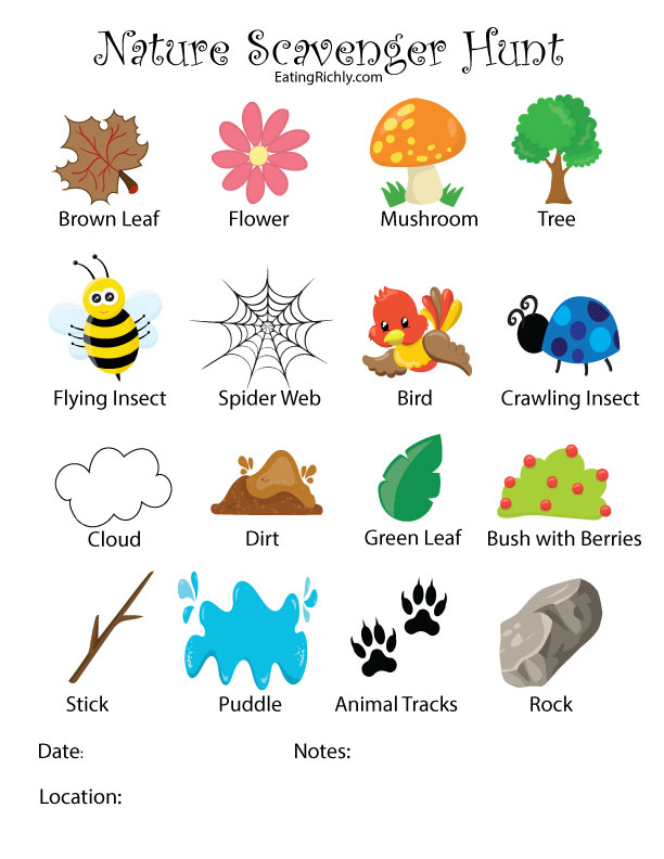 image regarding Printable Scavenger Hunt identified as Character Scavenger Hunt Printable for Small children - Feeding on Richly