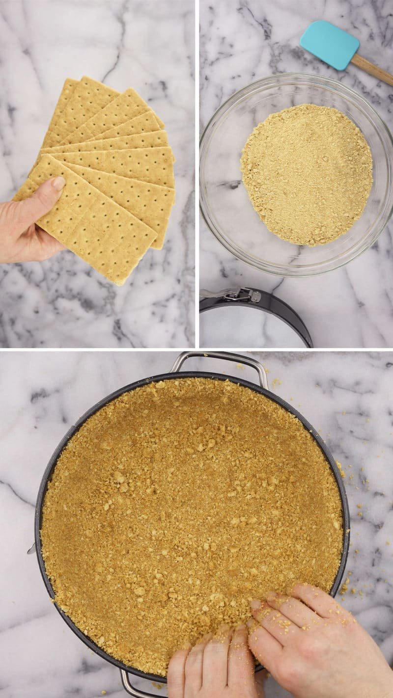 overhead of steps to make a graham cracker crust for rainbow cheesecakes