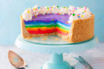 Rainbow Cheesecake on a cake stand