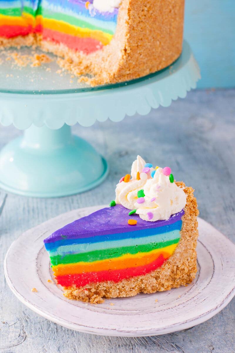 Rainbow Cheesecake Slice