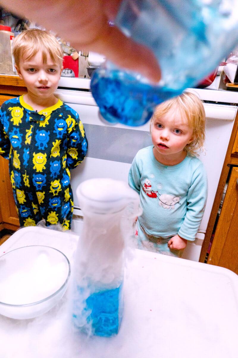 adding dish soap to dry ice