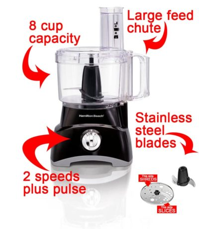 Hamilton Beach food processor with text explaining the features