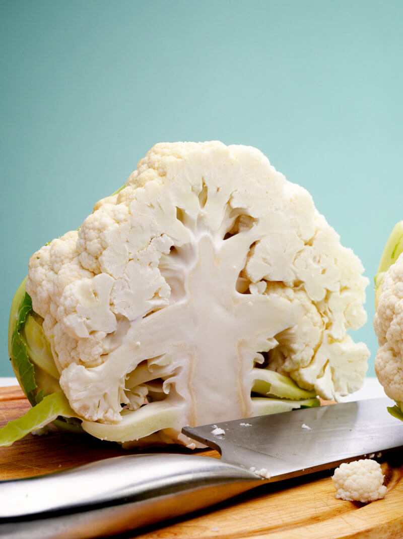 cauliflower sliced in half