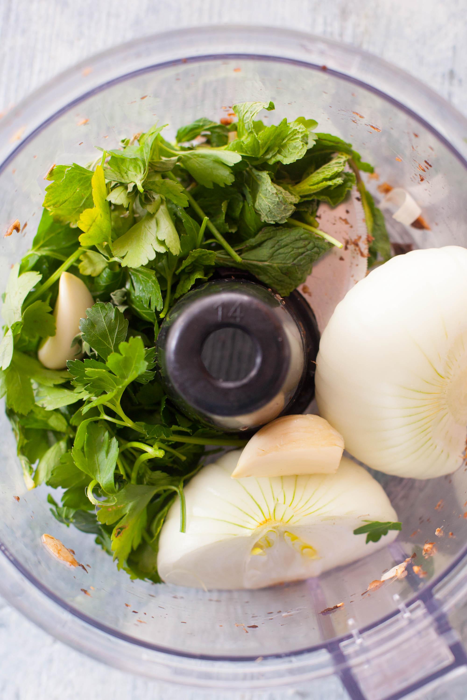 aromatic ingredients for lamb kofta in food processor