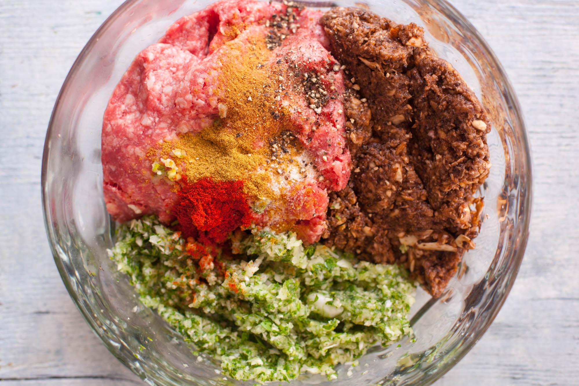 ground lamb kofta ingredients in bowl