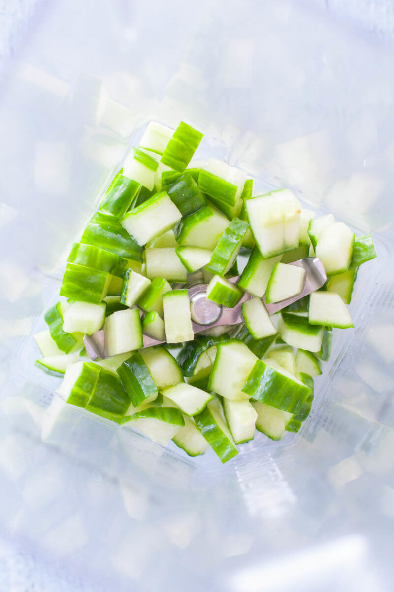 chopped cucumber in a blender for tzatziki sauce