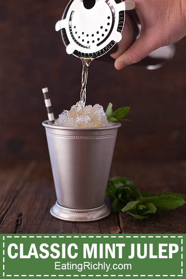 pouring a mint julep
