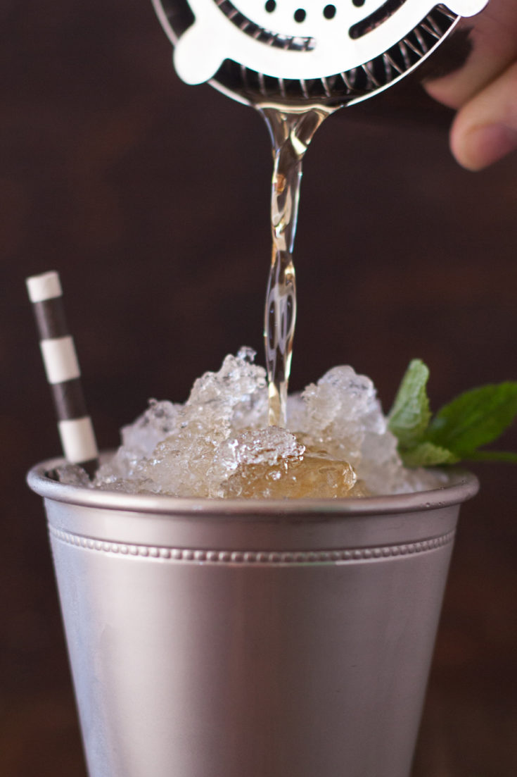 Mint Julep Being Poured Over Ice