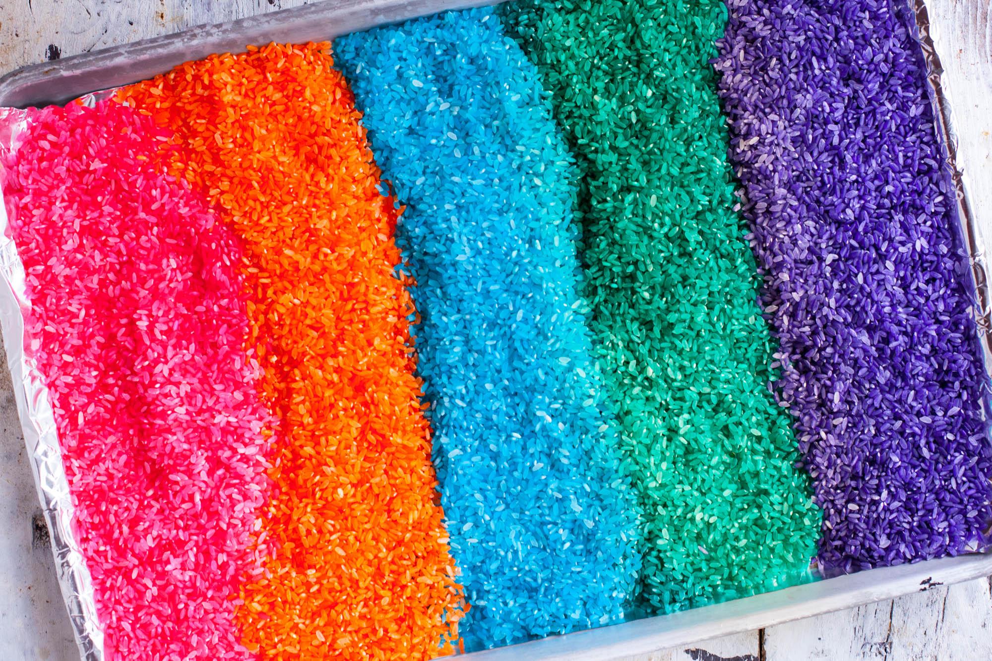 Rainbow Rice Sensory Bin Activity For Kids Eating Richly
